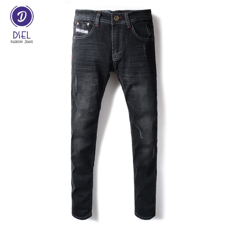Italian Style Fashion Mens Jeans Black Color Slim Fit Stretch Jeans Men DSEL Brand Elastic Skinny Ripped Jeans For Men Pants patch jeans men slim skinny denim blue jeans ripped trousers famous brand dsel jeans elastic pants star mens stretch jeans w701