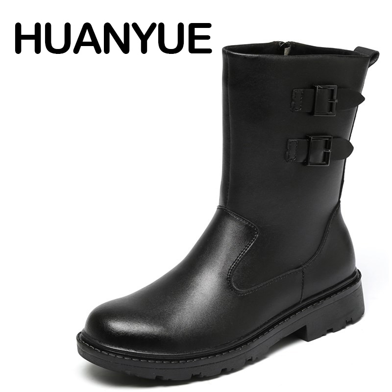 Winter Leather Men Boots Warm Plush Snow Boots Outdoor Flat Men Ankle Boots Waterproof Anti-skid Short Botas High-Top Men Shoe стоимость