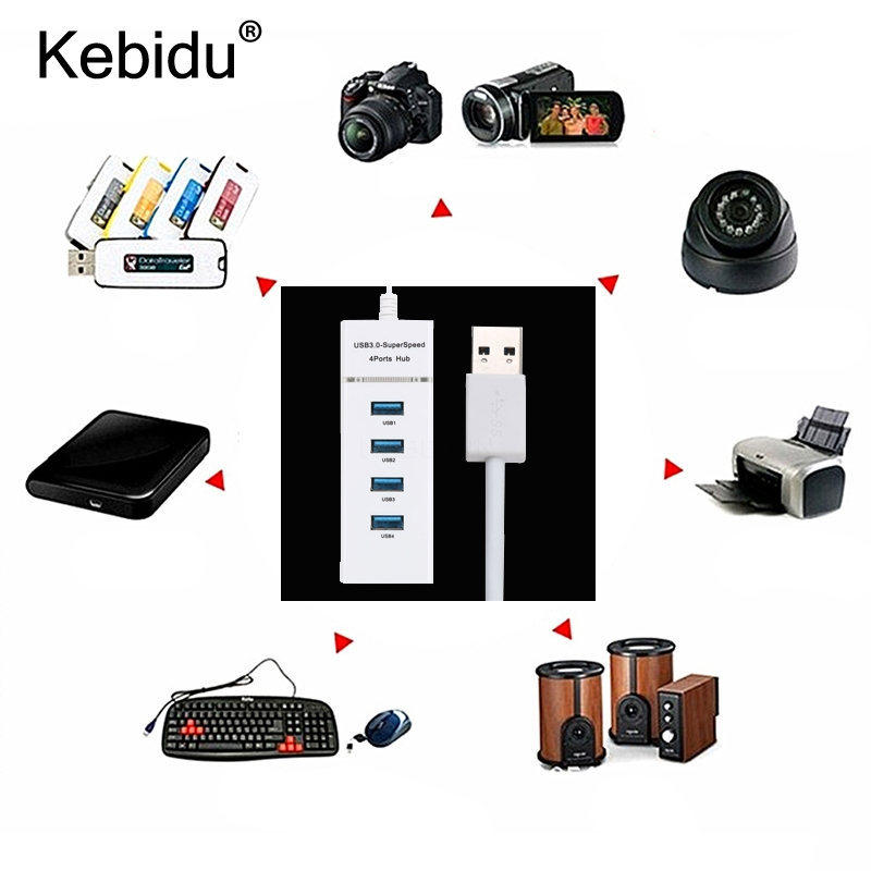 kebidu Powered Usb 3.0 Hub 4 Port SuperSpeed Compact Hub ...