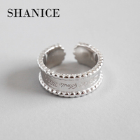 SHANICE Lady 925 Sterling Silver Chic Style Round Bead Wide Face Simple Open Rings Adjustable Finger Rings Retro Silver Jewelry