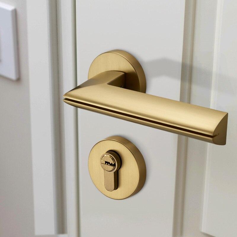 Modern altın kaplama çinko alaşım kolları iç kapılar için kapı kilidi iç kapı kolu