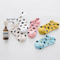 Cute Animal Cotton Socks Female Kawaii Cat With Dog Summer Short Socks Slippers Women Casual Soft