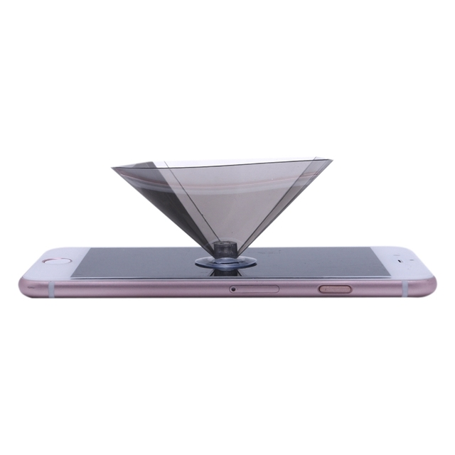 OOTDTY 3D Holographic Projector Pyramid Display With Sucker For 3.5-6Inch Smartphone 3