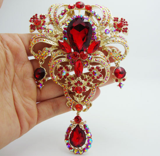 5 04 Quot Classic Style Flower Drop Brooch Pin Pendant Red
