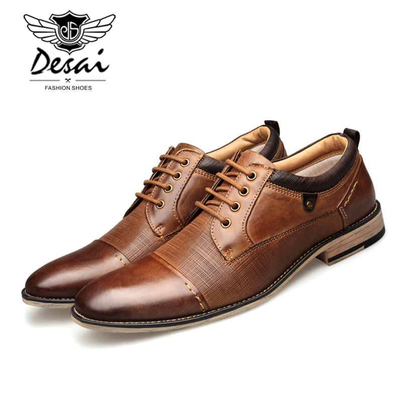 DESAI nouveauté grande taille chaussures hommes en cuir véritable à lacets en relief affaires robe chaussures hommes formelle Oxfords chaussures appartements-in Chaussures décontractées homme from Chaussures    2