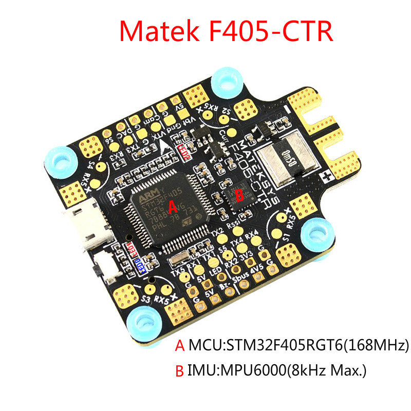 купить Matek Systems Mateksys BetaFlight F405-CTR Flight Controller Built-in PDB OSD 5V/2A BEC Current Sensor for RC FPV Racing Drone по цене 2488.71 рублей