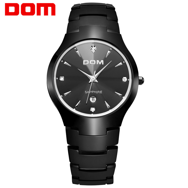 DOM Men's Watch Luxury Sapphire Crystal tungsten steel Round Wrist waterproof Business Quartz Wrist Watch Clock For Men New 698W цена и фото