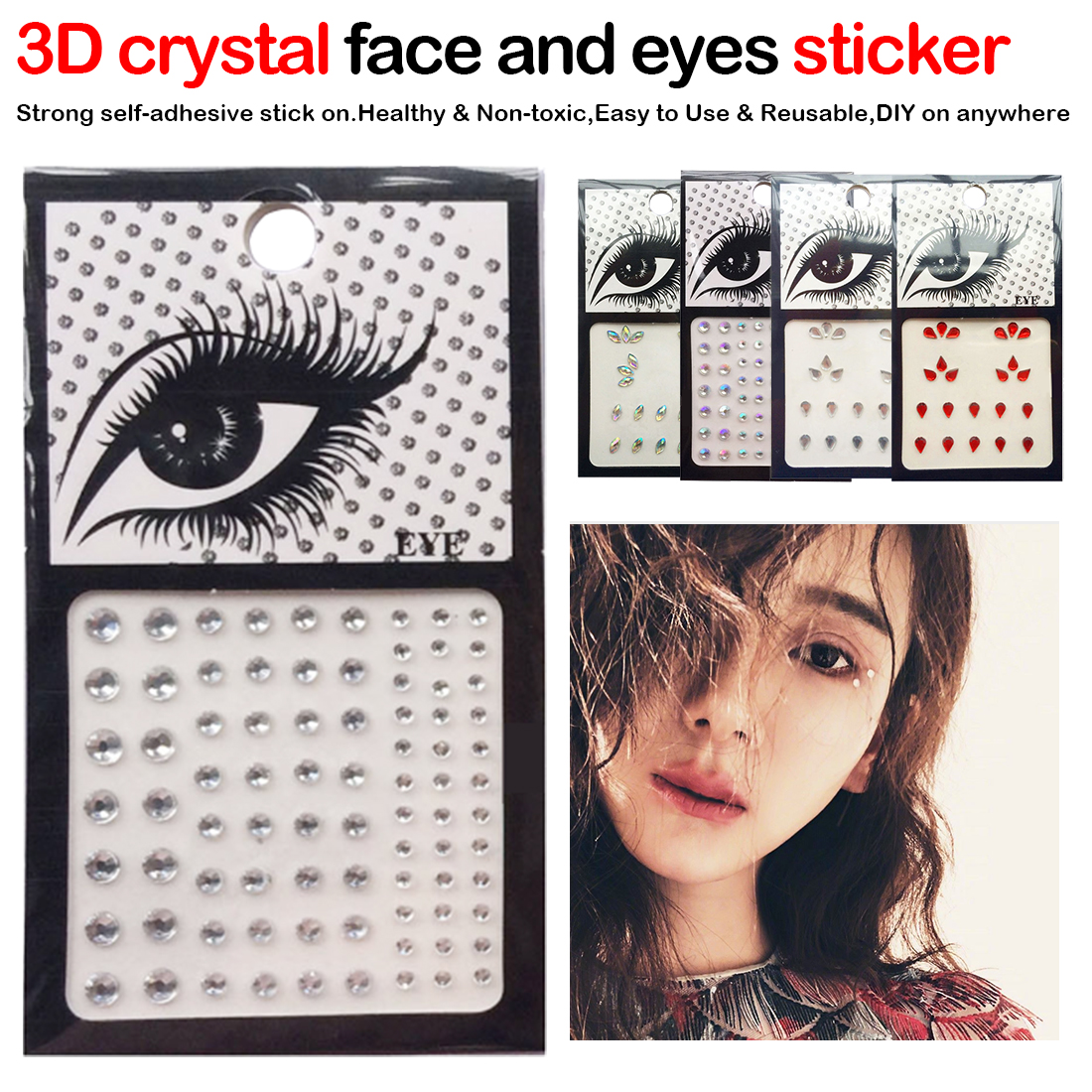 1pcs Glitter Hand-picked 3D Crystal Rhinestone Face Resin Stickers Drill Eye Jewel Front Decor Temporary Tattoo Sticker