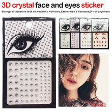 1pcs Glitter Hand-picked 3D Crystal Rhinestone Face Resin Stickers Drill Eye Jewel Front Decor Temporary Tattoo Sticker(China)