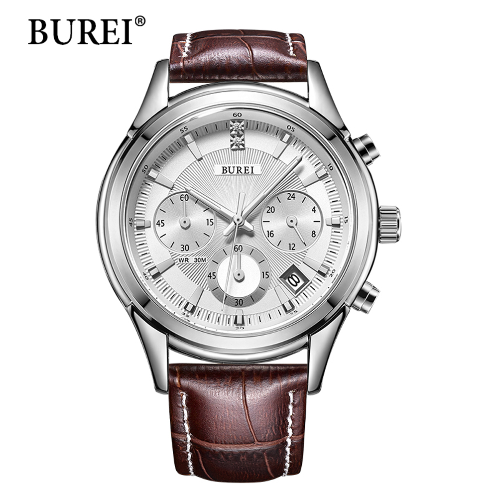 BUREI Men Watches Top Brand Fashion Leather Strap Silver Lens Male Clock Waterproof Multifunction Quartz Wristwatches Hot Sale burei brand men women dress quartz watch new hand couples table clock real leather fashion casual wristwatches hot sale gift