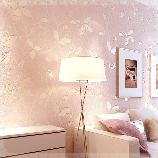 Modern Romantic Style Pearl Light D Three Dimensional Relief - Light pink wallpaper for bedrooms