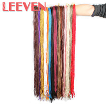 Leeven 28'' 45g Synthetic Zizi Box Braids Crochet Braids Hair Extension Braiding Hair Pink Write Purple Fiber(China)