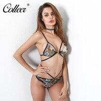 COLLEER 2018 Women S Floral Print Lingerie Sets Mesh Metal Buckle Underwear Sexy Strap Underwear Women
