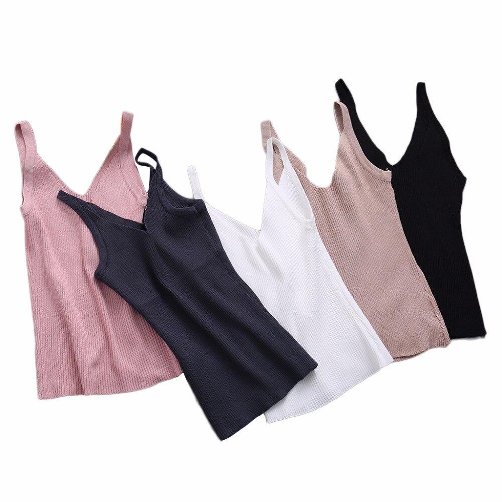 Summer Vest Sexy Women Plain Camisole Double V-neck Vest Slim Sling Short   Tank     Tops   New 2017