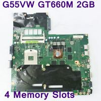 G55VW 4 Memory Slots GT660M 2GB N13E GE A2 motherboard for ASUS G55V G55VW laptop mainboard DDR3 60 NB7MB1000 F02 Fully tested