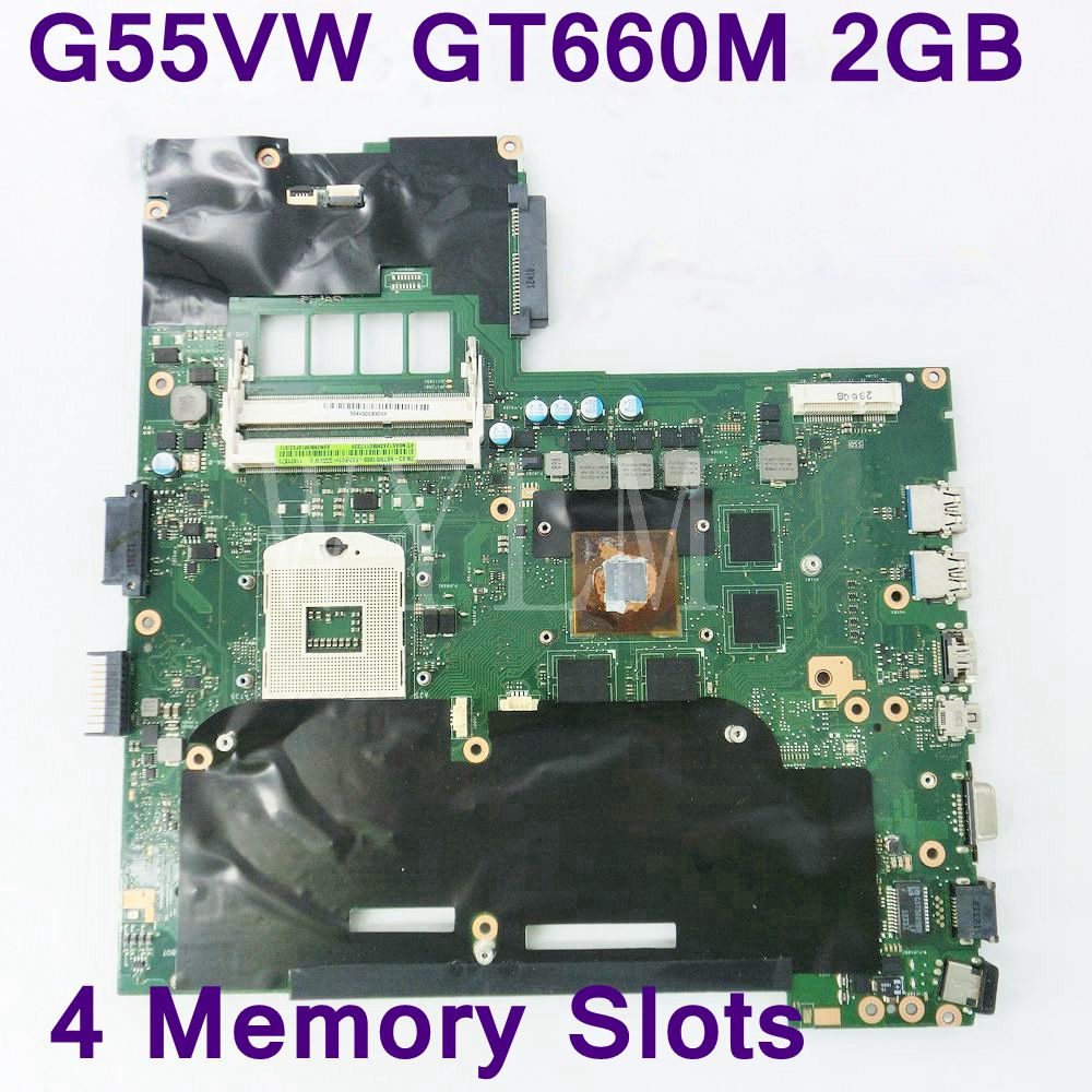 цены G55VW 4 Memory Slots GT660M 2GB N13E-GE-A2 motherboard for ASUS G55V G55VW laptop mainboard DDR3 60-NB7MB1000-F02 Fully tested