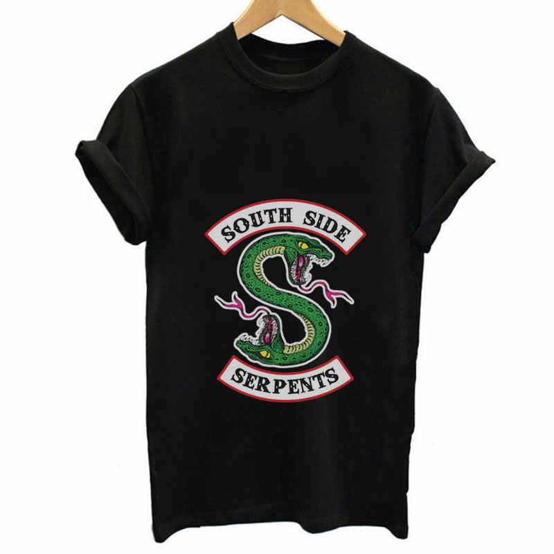 Riverdal Summer Women Black T-shirt Riverdale T Shirt Plus Size South Side Serpents Tshirt Jughead Fashion Vintage Harajuku Tops
