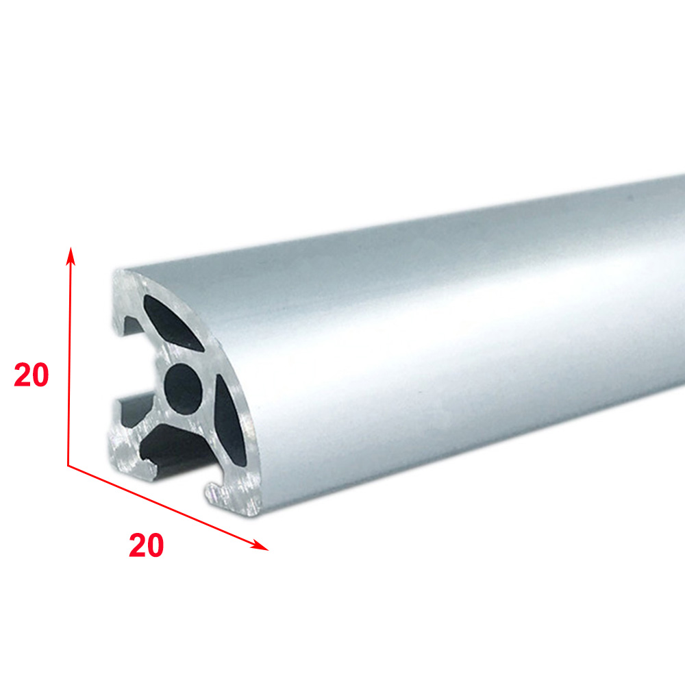 1PC 2020R-6 EU Aluminum Profile 100-800mm Length 1/4 Curved Linear Rail for DIY 3D Printer CNC