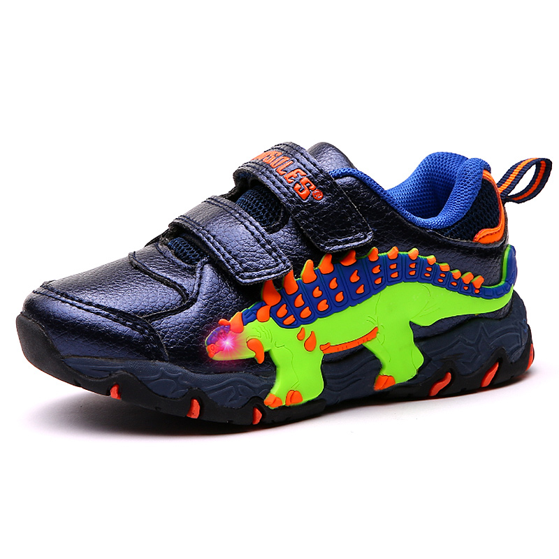 2019 Kids Light Up Shoes 3D Dinosaur Baby Boys Sneakers Led Glowing Sport Children's Trainers Spring Autumn Toddler Boys Shoes