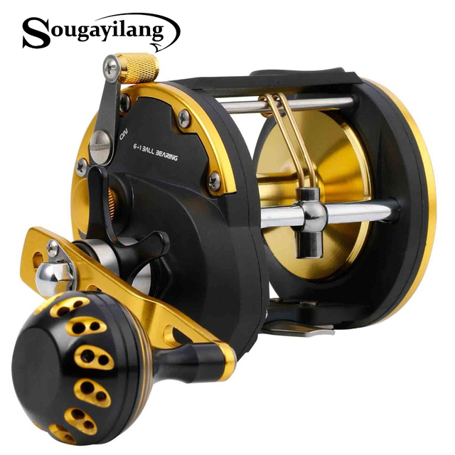 Special Price Sougayilang 6+1BB Strong Trolling Fishing Reel Right Hand Casting Sea Spinning Fishing Reel Baitcasting Reel Coil Fishing Tackle