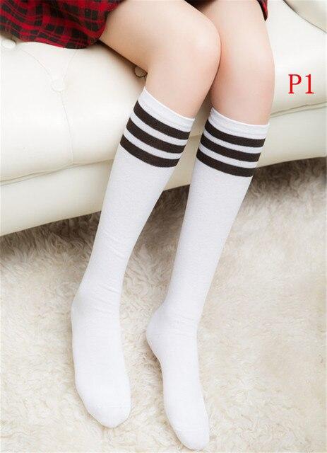Calcetines de algodón rayado hasta la rodilla de 3 líneas de algodón rayado hasta la rodilla calcetines sólidos de mujer fiesta escolar accesorios para animadoras