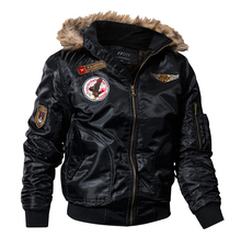 US Air Force Airborne Tactical Bomber Jackets Men Outdoor Hooded Fur Collar Military Pilot Jacket Winter Warm Army Flight Coats
