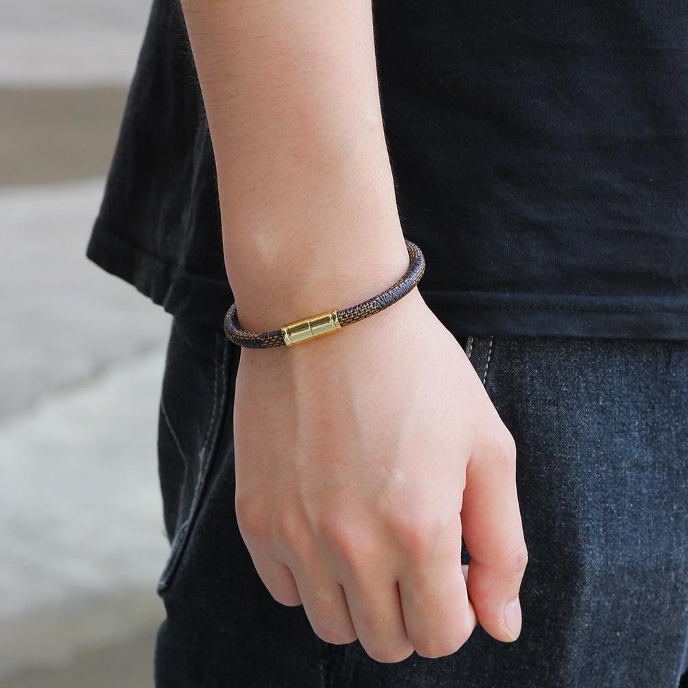 New Fashion Punk Cowhide Leather Men Bracelet Bangles for Women Jewelry Magnetic Snap Charm Bracelet Gift