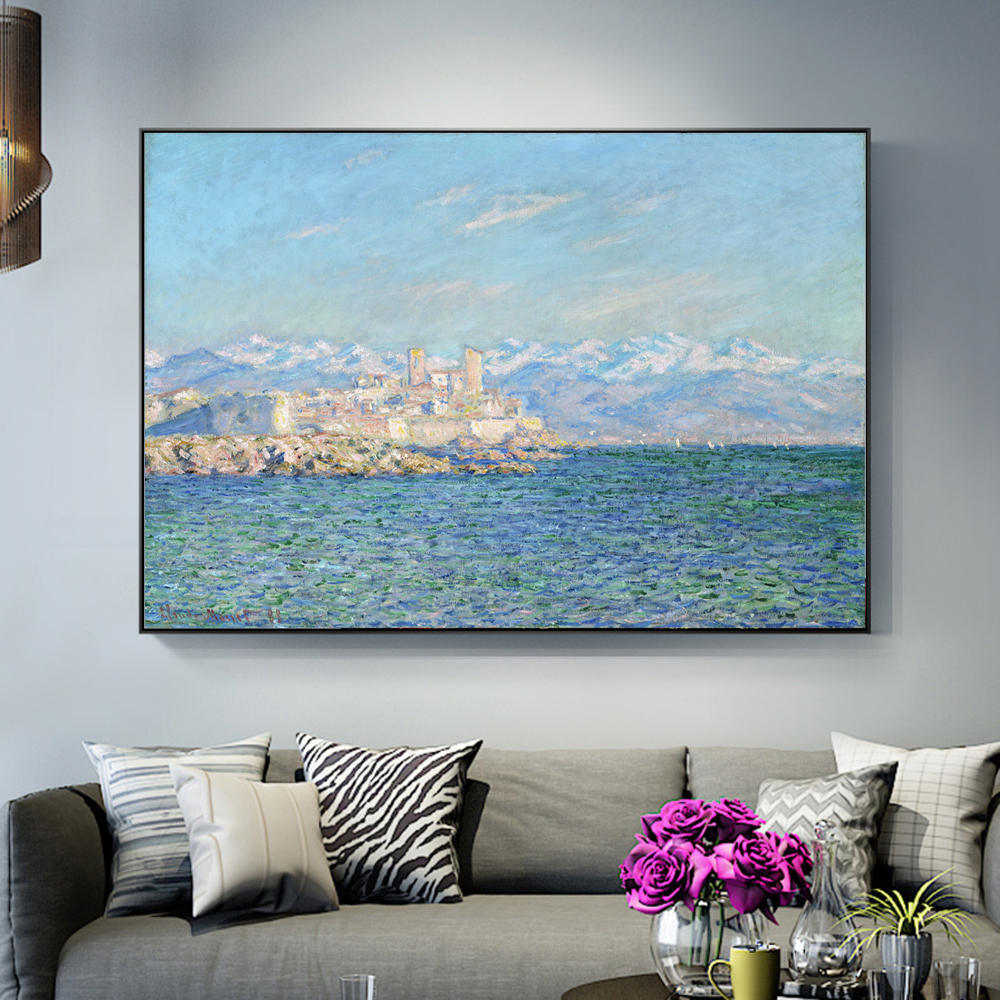 Antibes Afternoon Effect Paintings On The Wall By Claude Monet Wall Art Canvas Reproduction Decorative Pictures For Living Room