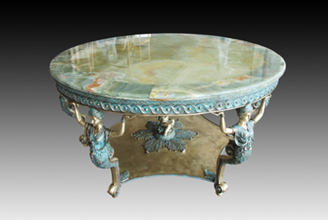 Europe Classical casting Bronze and marble round table statue villa - Home Decor