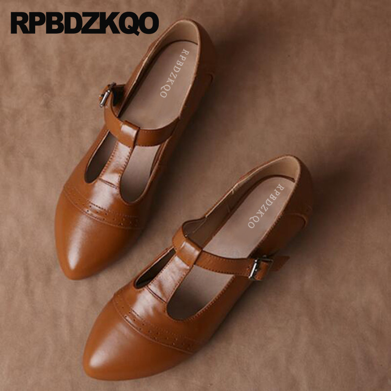 Pointed Brogue Shoes Thick T Bar Strap Japanese Genuine Leather Brown Low Heels Multi Colored Oxford Big Size Women Pumps 2018