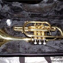 Bb cornet Труба латунь Музыкальные инструменты с Жесткий Чехол и мундштук лак Trompeta