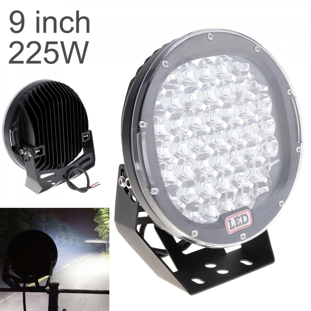 1 Piece 9 Inch Round 225W LED Car Worklight Spot / Flood Light Vehicle Headlight Driving Lights for Offroad SUV ATV Truck Boat