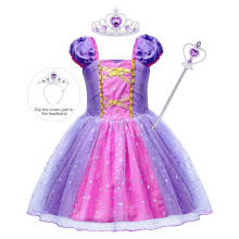 цены Toddler Girl Princess Rapunzel Dress Birthday Party cosplay costume Lace Halloween Christmas Ball Gown kids tutu Dress clothes
