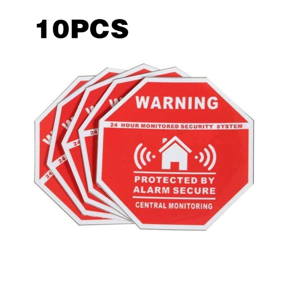 Cewaal 10 шт. 7.5*7.5 см дома защищенные охранной сигнализации Системы Предупреждение знак Стикеры окна, двери Наклейка украшения