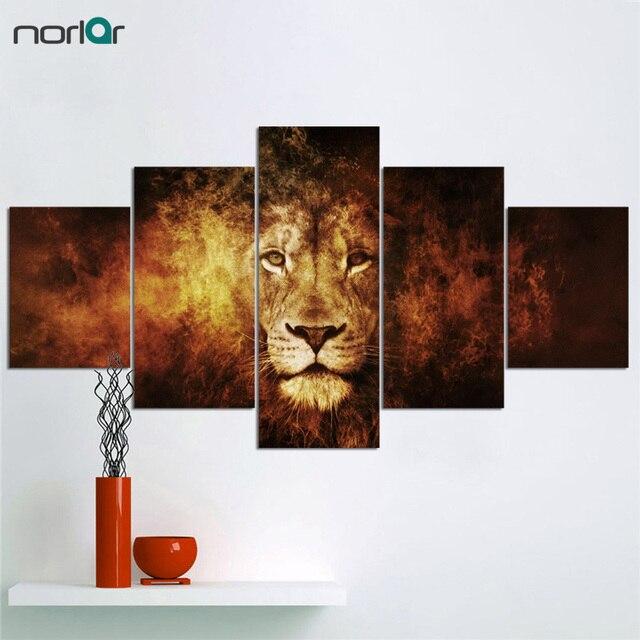 Grand Imprimé Cool Mode Feu Lion Toile Peinture Art Décoration