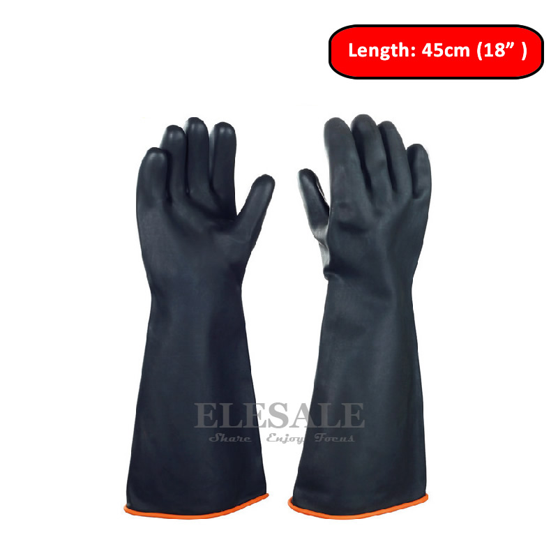 """Image 3 - 1 Pair 14"""" 22"""" Chemical Resistant Gloves Heavy Duty Latex Gloves Acid Alkali And Oil Resistant Industry Work Gloves XL Size-in Safety Gloves from Security & Protection"""