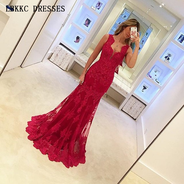 Lace Mermaid   Evening     Dress   Sleeveless V Neck Robe De Soiree Prom Party   Dress   Elegant Women Long   Dresses   Formal Gowns