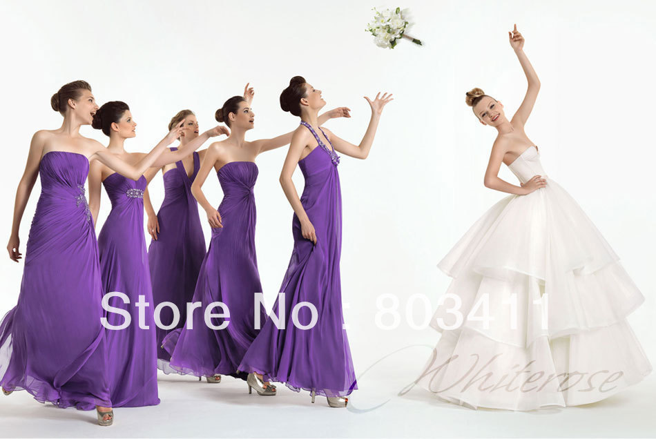 Freeshipping Grace Multi-design Nice with Crystal Purple Chiffon   Bridesmaid     Dresses