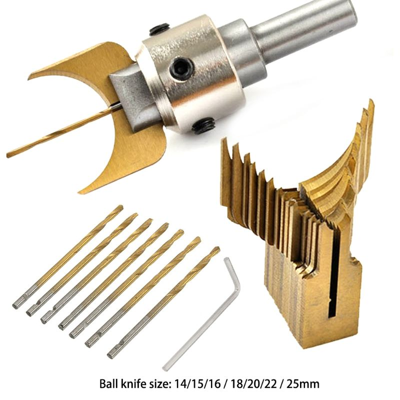 Carbide Ball Bits Blade Woodworking Milling Cutter Molding Tool Buddha Beads Router Bit Drills Set
