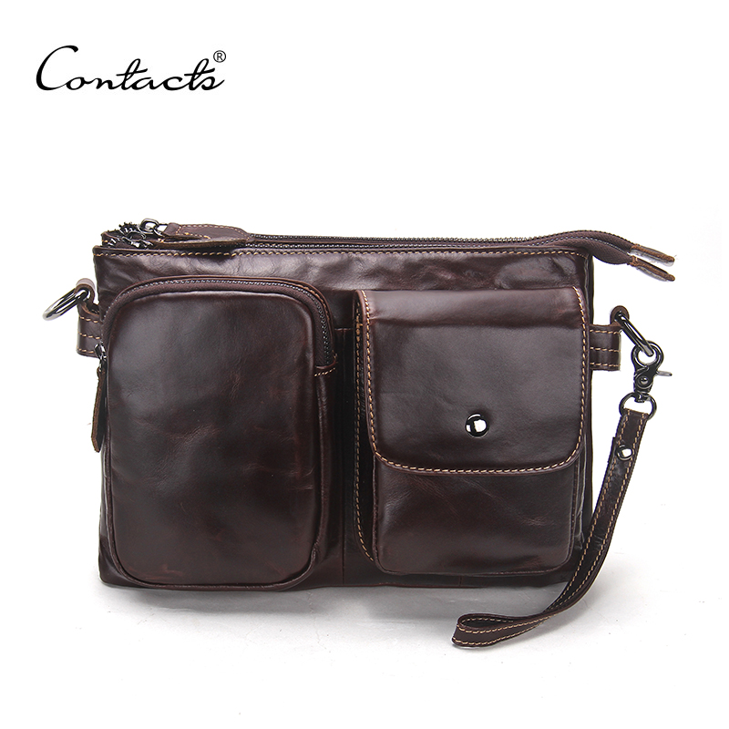 CONTACT'S Vintage Men Messenger Bags High Quality Soft Genuine Leather Large Capacity Travel Men Bags Dollar Price Handsome Man maxwell high quality vintage large size big capacity genuine crazy horse leather men travel bags messenger bags mw j7028r 1
