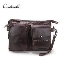 CONTACT'S Vintage Männer Messenger Bags Hohe Qualität Weichen Echtleder Große Kapazität Reise Herren Taschen Dollar Preis Schöner Mann