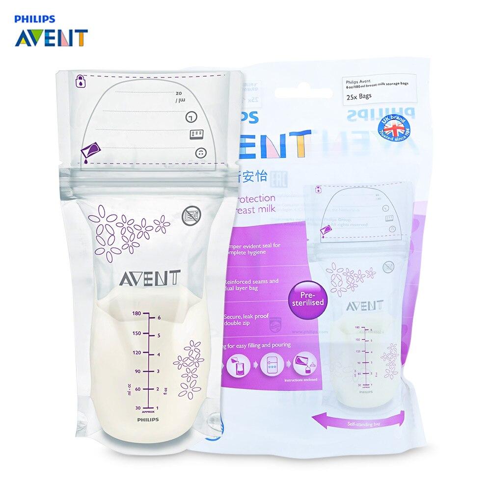 Philips Avent 25pcs 6oz / 180ml Baby Breast Milk Powder Storage BPA Free Bag Disposable Kids Baby Food Breast Milk Storage Bag