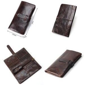 Image 3 - גברים של RFID ארוך ארנק עור אמיתי גבר מצמד Walet מותג יוקרה זכר ארנק ארוך ארנקים מטבע ארנק טלפון כיס עבור Iphonex