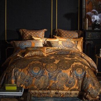 Luxury Bedding set Queen King size Golden Silver Satin Cotton Bed set Doona Duvet cover Bed sheet set juego de cama linge de lit 1
