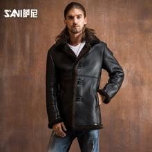 2017 2017 warm winter fashion genuine leather fur clothing male Sheepskin Shearling Men outerwear genuine leather fur overcoat
