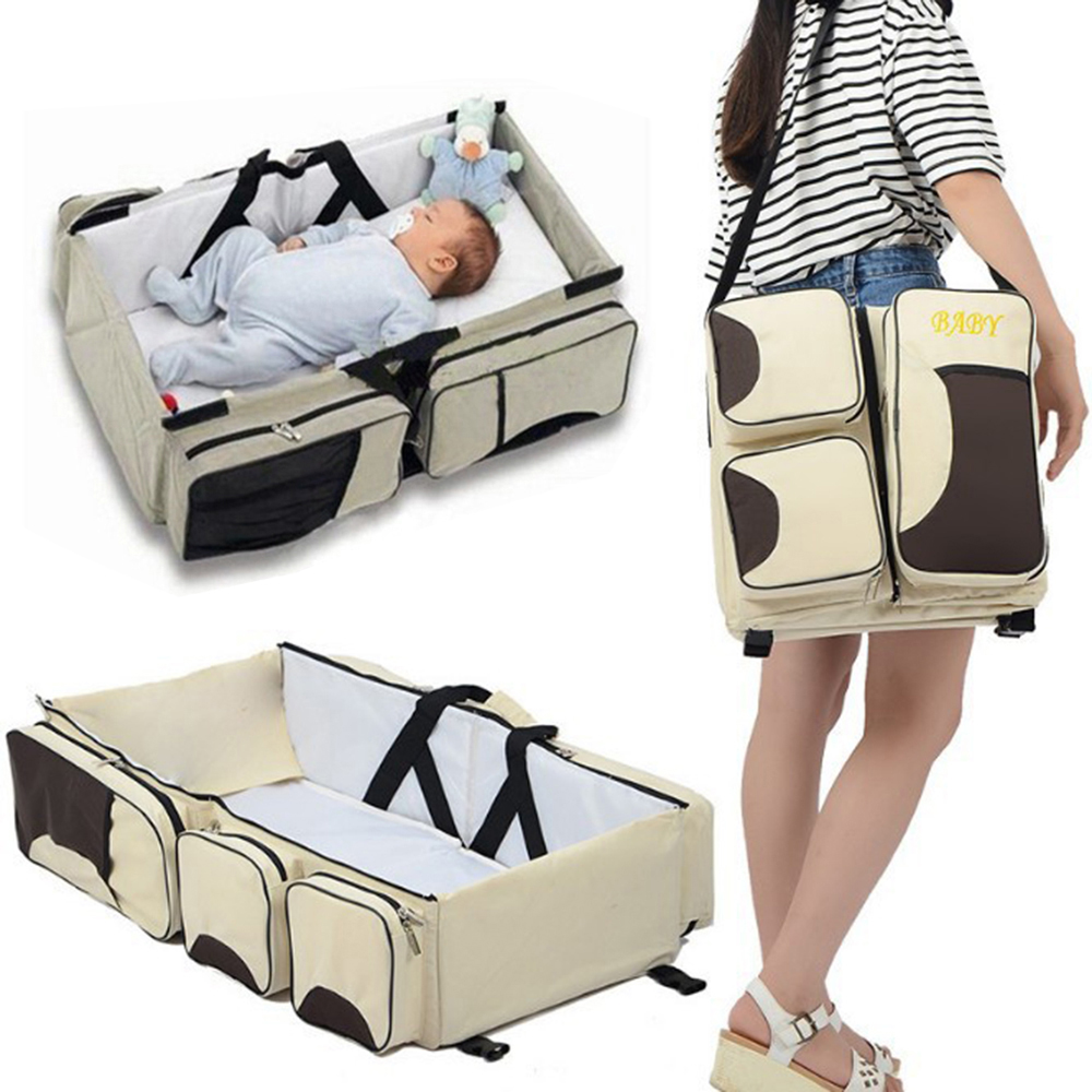 2019 New Arrival Multi-function Portable Bed Travel Bed Cradle Cot For Newborns Infants Babies Big Capacity Mummy Bag Baby Crib(China)