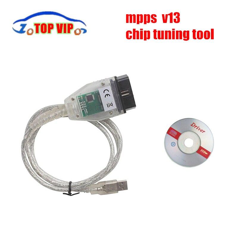 Prix pour Pour SMPS MPPS V13.02 V13 K PEUT Flasher Chip Tuning ECU programmeur Remap OBD2 OBDII Diagnostic Interface USB-K + PEUT libérer le bateau