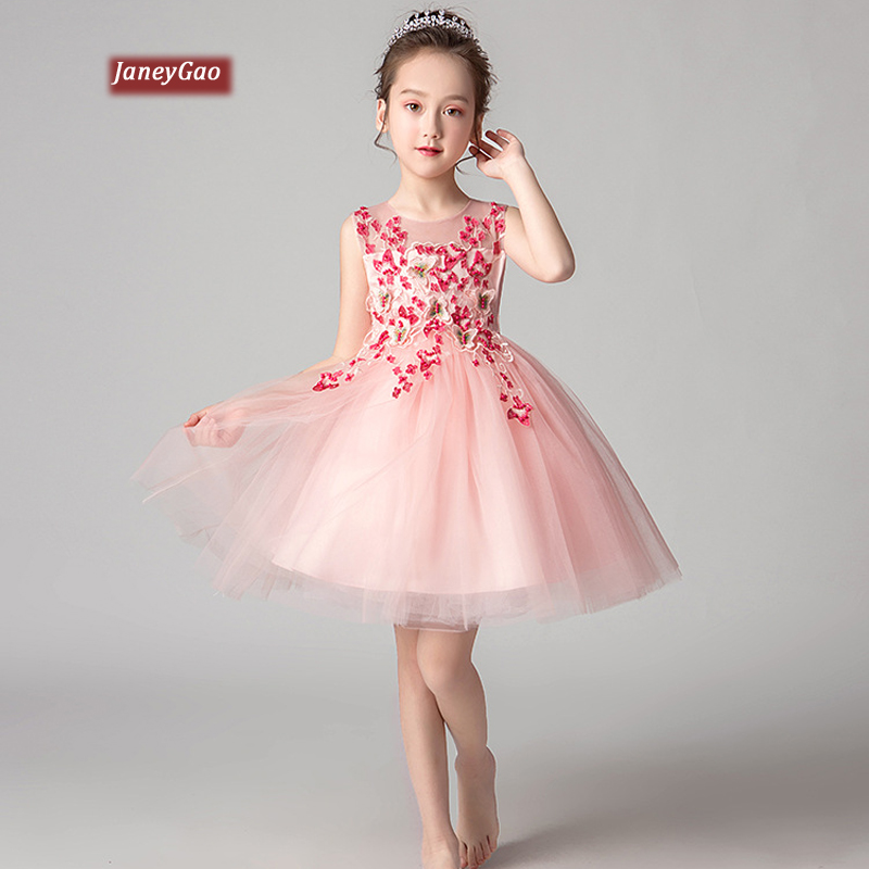 JaneyGao   Flower     Girl     Dresses   For Wedding Party 2019 Fashion Summer Sleeveless   Girls   Communion   Dress   Birthday Party Formal Gown