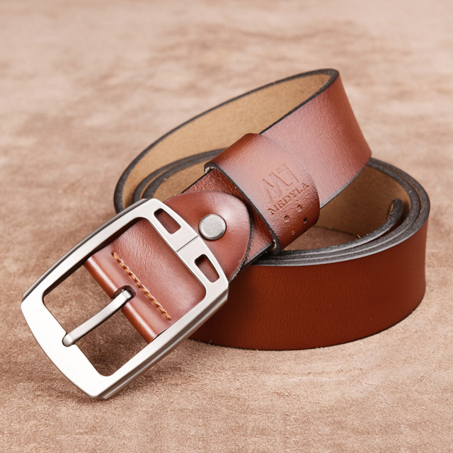 2017 Men Genuine Leather Luxury Strap Male Belts 3 Colors Cintos Masculinos Pin Buckle Cowhide Vintage Brand Waistband for Jeans