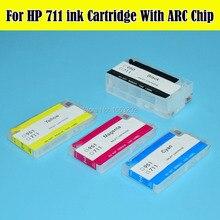 4 цвета/комплект hp 711 набор чернил для заправки картриджа с чипом ARC для hp Designjet T120 T520 для hp 711